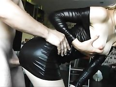 Spandex young babe gets doggy fucked..